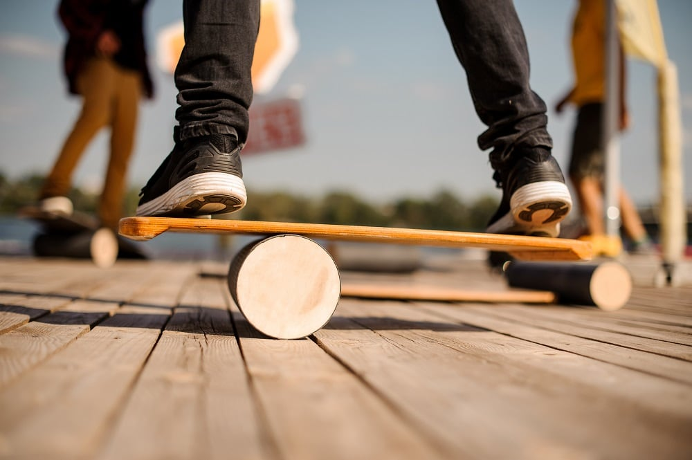 Man standing on the balance board